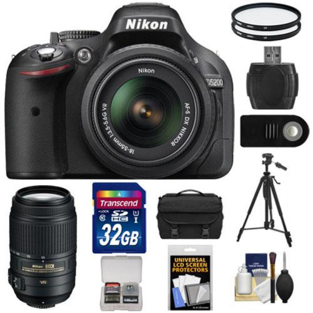 Nikon D5200 Digital SLR Camera & 18-55mm G VR DX AF-S Zoom Lens (Black)  with 55-300mm VR Lens + 32GB Card + Battery + Case + Filters + Tripod +