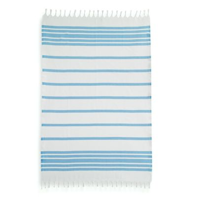 Linum Home Authentic Pestemal Fouta Turquoise and White Turkish Cotton Bath/ Beach Towel