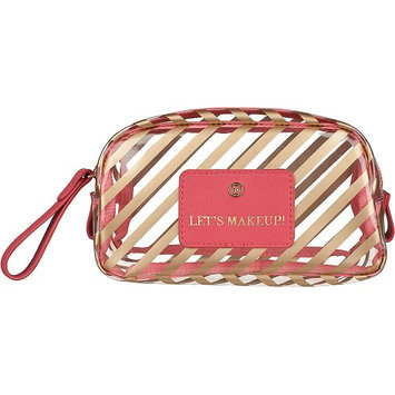 Boulevard Let's Makeup! Gumdrop Glass Bag Ribbon with Pink Leather - Boulevard Ladies Cosmetic Bags