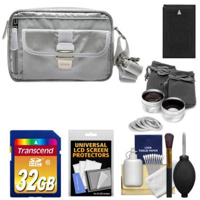 Nikon 1 Series Deluxe Digital Camera Case (Gray) with 32GB Card + EN-EL20 Battery + Tele/Wide Lenses + Accessory Kit for J1, J2, J3, S1, AW1