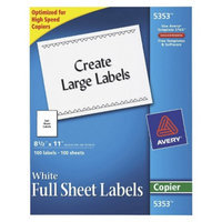 Avery 8-1/2 x 11 Self-Adhesive Copiers Full Sheet Shipping Labels -