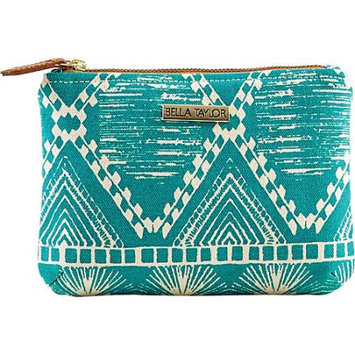 Bella Taylor Tahiti Teal Personal Pouch Set of 2 Cosmetic Case Makeup Bag Travel 6.25x9x5 And 5x7x5