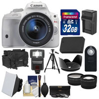 Canon EOS Rebel SL1 Digital SLR Camera & EF-S 18-55mm IS STM Lens (White) with 32GB Card + Case + Flash + Battery/Charger + Tripod + Tele/Wide Lens Kit