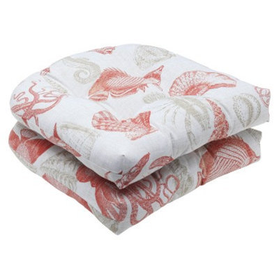 Pillow Perfect Outdoor 2-Piece Wicker Seat Cushion Set - Orange/Tan Sealife