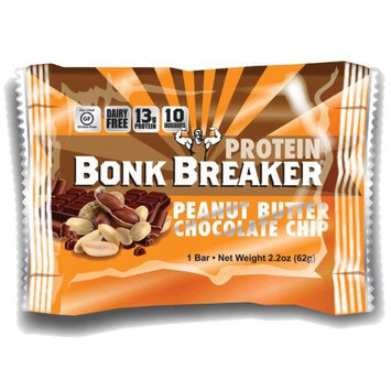 Bonk Breaker Energy Bars Protein Bar Peanut Butter & Chocolate Chip Protein, Box of 12 Bars