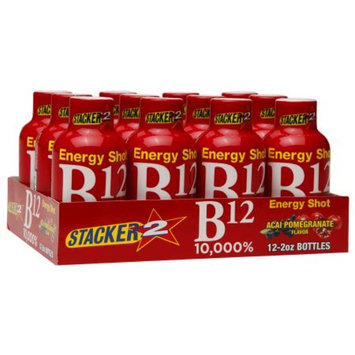 Stacker 2 B12 10,000% Energy Shots, Acai Pomegranate, 12 ea