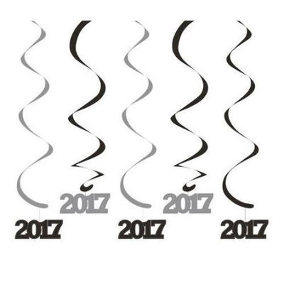 Party Central Club Pack of 30 Black and Silver New Year's 2017 Dizzy Dangler Whirl Decorations 24
