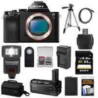 Sony Alpha A7S Digital Camera Body with VG-C1EM Grip + 64GB Card + Case + Battery + Tripod + Flash + Accessory Kit