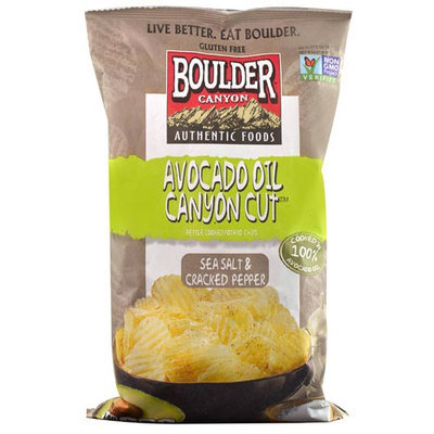 Boulder Canyon Authenticl Foods Avocado Oil Canyon Cut Kettle Cooked Potato Chips Sea Salt & Cracked Pepper 5.25 oz - Vegan
