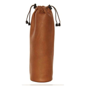 Piel Leather 3057 Drawstring Single Wine Tote - Saddle