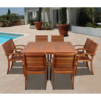 Amazonia Jamaica 9 Piece Eucalyptus Wood Square Patio Dining Set Brown