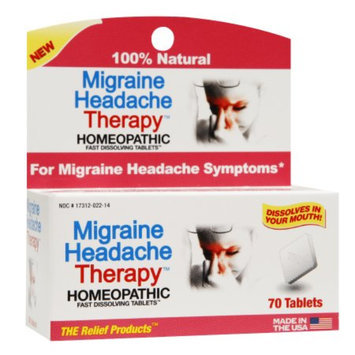 The Relief Products Migraine Headache Therapy Homeopathic Fast Dissolving Tablets, 70 ea