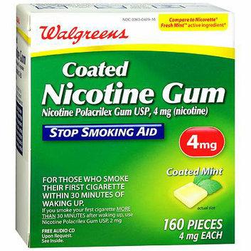 Walgreens Coated Nicotine Gum 4 mg Mint