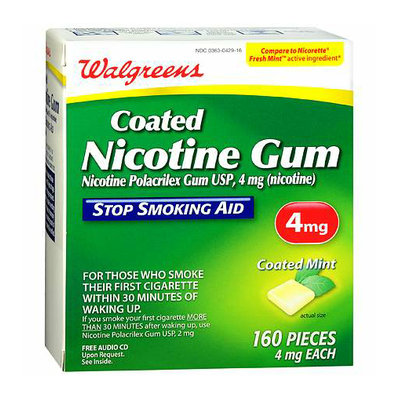 Walgreens Coated Nicotine Gum 4 mg Mint