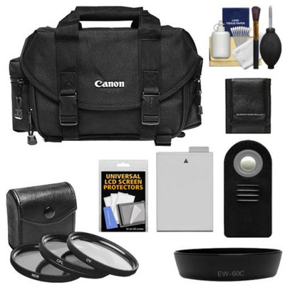 Canon 2400 Digital SLR Camera Case with 3 UV/CPL/ND8 Filters + LP-E8 Battery + Remote + Hood + Accessory Kit for EOS Rebel T2i, T3i, T4i, T5i & 18-55mm Lens