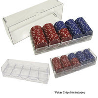 Trademark Commerce 10-5030SET 3.125 x 8.375 x 2.25 Clear Acrylic Chip Trays and Covers - Set of 10