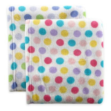 Baby Vision Luvable Friends Polka Dot Print Coral Fleece Blanket 30x40, Blue