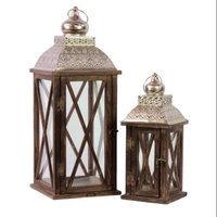 Urban Trends 2 Piece Wood Lantern Set - Color: Brown