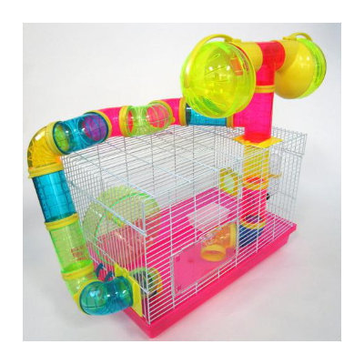 YML Pink Tubed Hamster Cage, 18.5