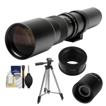 Samyang 500mm f/8.0 Telephoto Lens (T Mount) with 2x Teleconverter (=1000mm) + Tripod + Accessory Kit for Samsung NX20, NX200, NX210 & NX1000 Digital Cameras