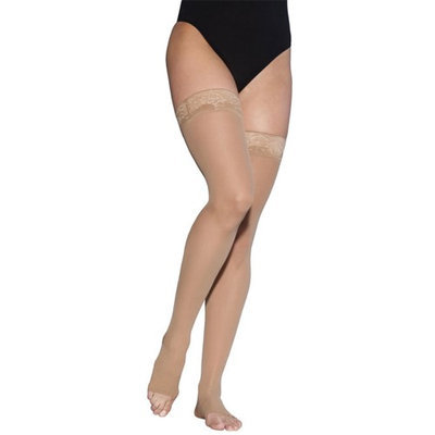 Sigvaris EverSheer 781NLLO33 15-20 Mmhg Open Toe Large Long Thigh Hosiery For Women Natural
