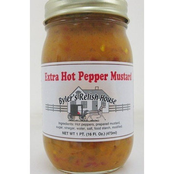 Byler's Relish House Homemade Amish Country Extra Hot Pepper Mustard 16 oz.