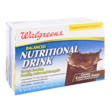 Walgreens Balanced Nutritional Drink Creamy Chocolate Shake