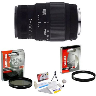 Sigma 70-300mm f/4-5.6 DG Macro Telephoto Zoom Lens for Sony Alpha SLR + Opteka UV Filter + Opteka CPL Filter + Opteka 5 Piece Cleaning Kit
