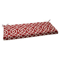 Pillow Perfect Outdoor Bench Cushion - Red/White Geometric