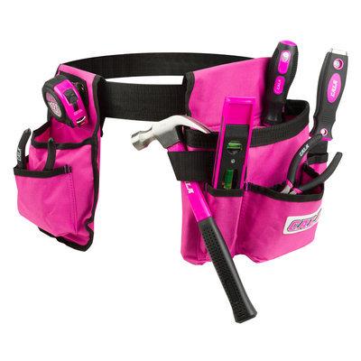 David Shaw Silverware Na Ltd Cala Pink 7 Piece Tool Set With Tool Belt - David Shaw Silverware NA LTD