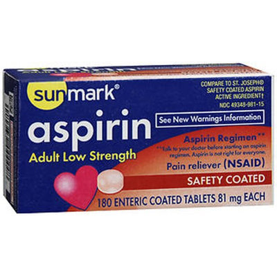 Sunmark Aspirin Adult Low Strength, 81 mg, 180 tabs by Sunmark