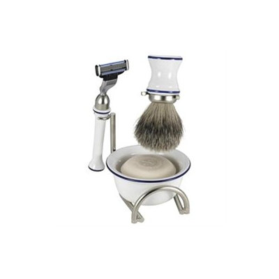 Swissco 5-Piece Shave Set, Bowl, Badger, Mach 3 with Soap, Gift Box, Ceramic