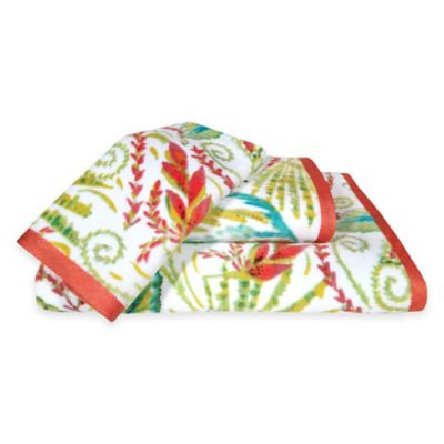 Dena Home Tropical Palm Bath Towel, Coral