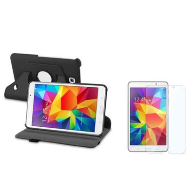 Insten INSTEN Black 360 Leather Stand Case+Clear Screen Protector For Samsung Galaxy Tab 4 7.0 7
