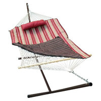 Algoma Net Company Patio 12' Hammock & Stand Set - Natural/Red/Brown