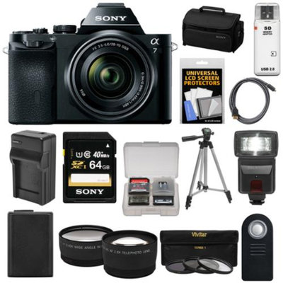 Sony Alpha A7 Digital Camera & 28-70mm FE OSS Lens with 64GB Card + Battery & Charger + Case + Tripod + Flash + Tele/Wide Lens Kit