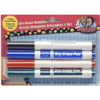 Dry Erase Markers - 4 Pack Broad Point by Board Dudes