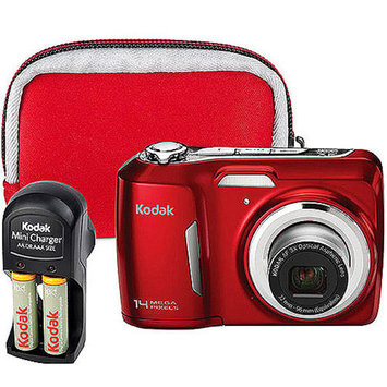 Kodak EasyShare C183 14MP Digital Camera Bundle includes 2AA Rechargeable Batteries, Wall charger, and Neoprene Case, 3X Zoom, 3