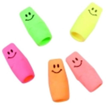 Moon Products Neon Smiley Pencil Cap Erasers
