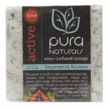 Pura Naturals Active Slice - Soap Infused Sponge, Peppermint Volcano, 3 ea