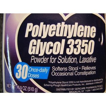 GeriCare OTC for MIRALAX 30 Doses 17.9oz Powder Laxative Compares to Miralax Mirilax Milax Mirrlax Mirelax Polyethylene Glycol 3350 Stool Softener