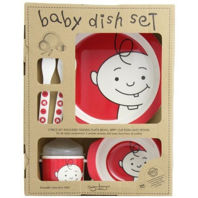 SugarBooger Peek-a-Boo 5 Piece Feeding Set, Red Raspberry (Discontinued by Manufacturer)
