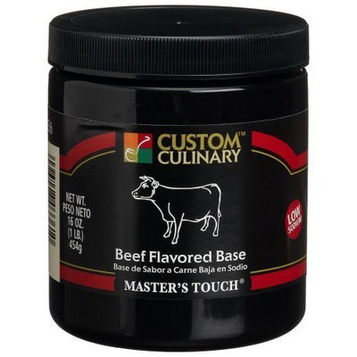 Custom Culinary Master's Touch Beef Flavored Very Low Sodium Base, 16-Ounce Plastic Jars (Pack of 6)