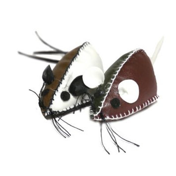 Jolly Moggy Faux Leather Mice Cat Toy (Multi)