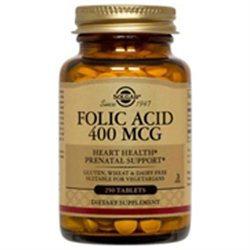Solgar Folic Acid - 400 mcg - 250 Tablets