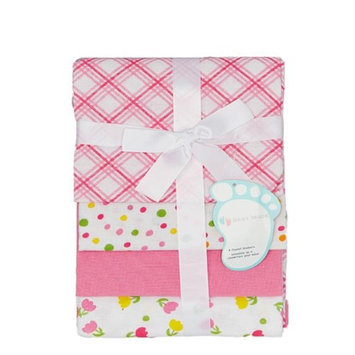 Baby Mode Pink Tulips & Polka Dots Receiving Blankets - Set of Four