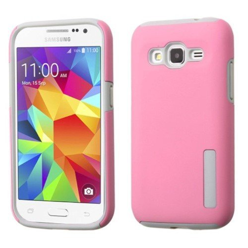 Insten - Dual Layer [Shock Absorbing] Hybrid Rubber Hard PC/Silicone Case Cover for Samsung Galaxy Core Prime Prevail LTE - Pink / Gray