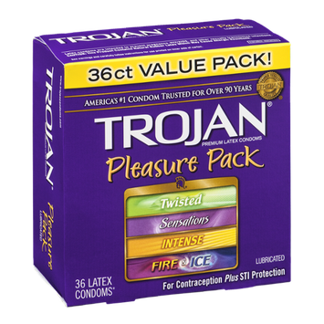 Trojan Pleasure Pack Lubricated Premium Latex Condoms - 36 CT