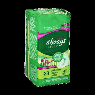Always Fresh Ultra Thin Flexi-Wings Long/Super Pads - 28 CT