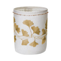 Lazy Susan White Linen Gold Stitched Ginkgo Votive - Small